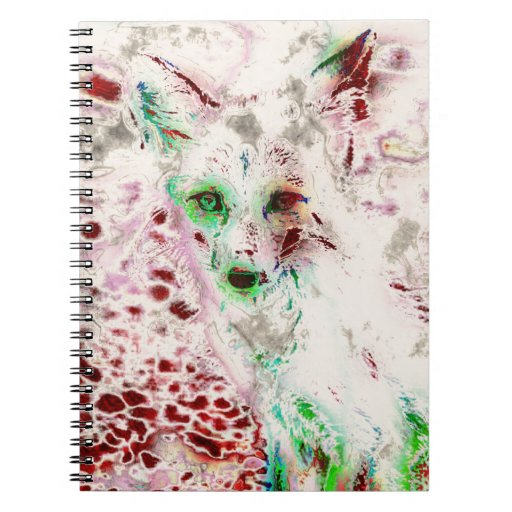 Ghost Fox Eyes Abstract Art Red and White Spiral Note Book