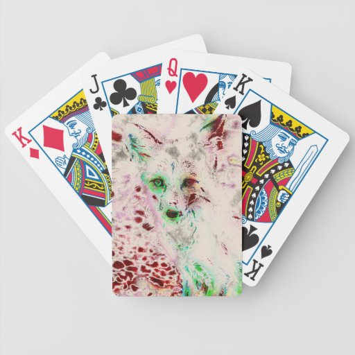Ghost Fox Eyes Abstract Art Red and White Bicycle Poker Cards