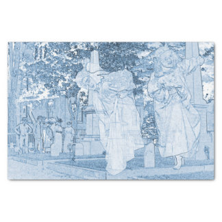 Ghost Girls Escaping Cemetery vintage Art Photo Tissue Paper