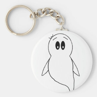 Ghost Gito the Penguin Basic Round Button Key Ring