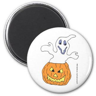 Ghost haunting pumpkin refrigerator magnet