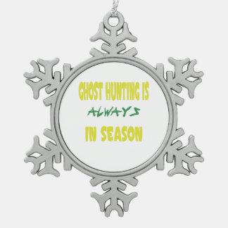 Ghost Hunting Season Pewter Snowflake Decoration