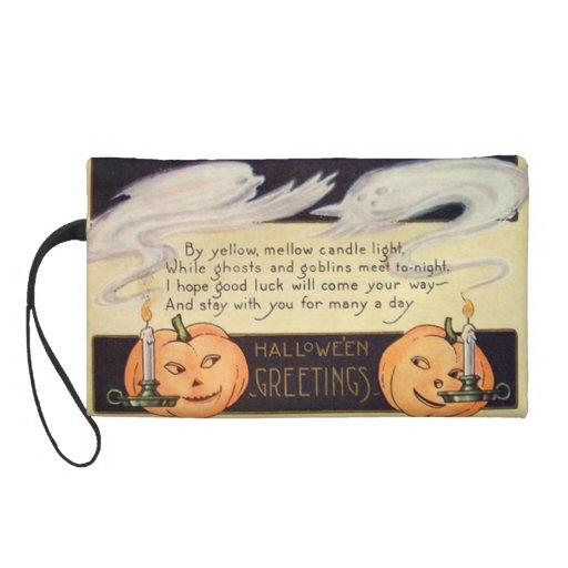 Ghost Jack O Lantern Candles Vintage Halloween Wristlet Clutches
