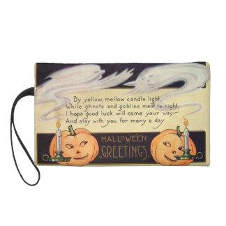 Ghost Jack O Lantern Candles Vintage Halloween Wristlet Purses