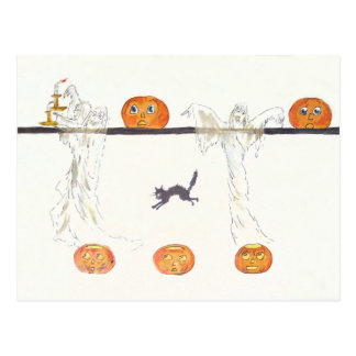 Ghost Jack O Lantern Pumpkin Black Cat Postcard