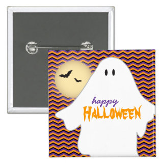 Ghost, moon and bats Happy Halloween 15 Cm Square Badge