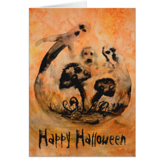 Ghost Mushrooms Halloween Card