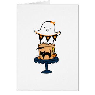 Ghost on Halloween Cake Card