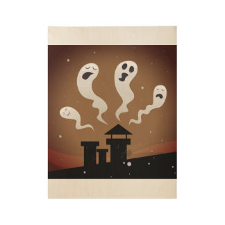 Ghost poster collection on wood