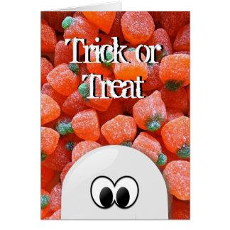Ghost Pumpkin Candy Trick or Treat Halloween Card