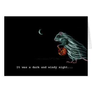 Ghost Rat on WIndy Halloween Night Note Card
