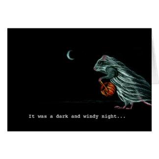 Ghost Rat on WIndy Halloween Night Note Card