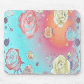 Ghost Roses Aqua Mouse Pad Standard Horizontal