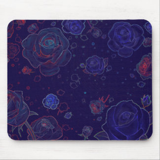 Ghost Roses Blue Mouse Pad Standard Horizontal