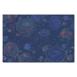 Ghost Roses Sapphire Blue Tissue Paper