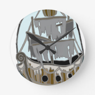 Ghost Ship Round Clock