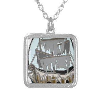 Ghost Ship Silver Plated Necklace