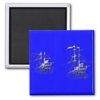Ghost Ships Square Magnet
