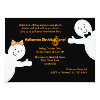 "Ghost Siblings Halloween Party Invitation 5"" X 7"" Invitation Card"