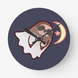 Ghost Sloth Round Clock