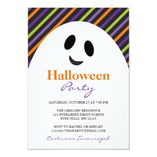 Ghost Stripes Halloween Party Invitations