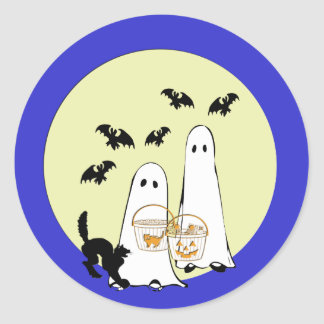 ghost  Trick or Treat Classic Round Sticker
