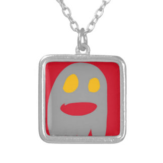 Ghost tricks or treat square pendant necklace