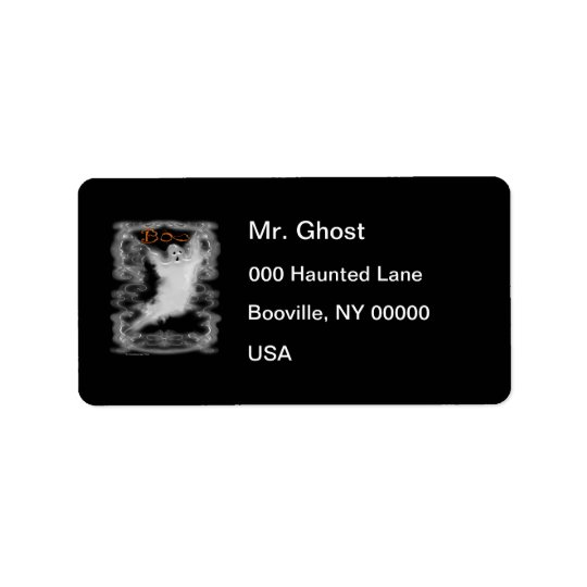 Ghost White Scroll Border Address Label