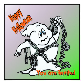 Ghost with Chains Halloween Invitation
