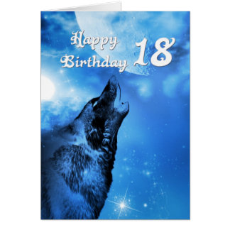 Ghost wolf howling 18th birthday card