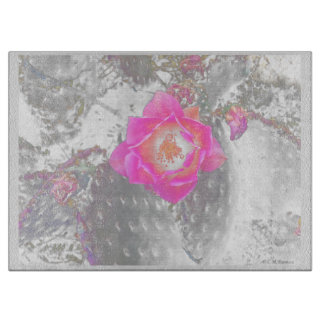 Ghosted pink cactus flower cutting board
