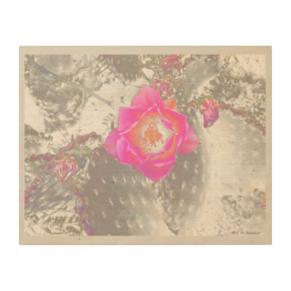 Ghosted pink cactus flower wood wall decor