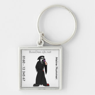 Ghostface Contact Silver-Colored Square Key Ring