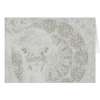 Ghostly alpaca and mandala horizontal card
