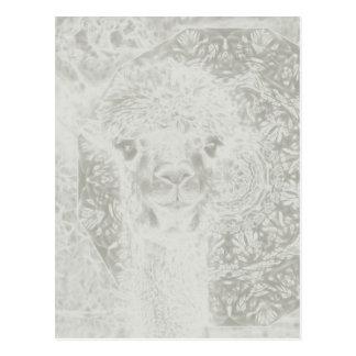 Ghostly alpaca and mandala vertical postcard
