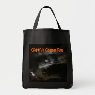 Ghostly Goody Bag/Halloween Grocery Tote Bag
