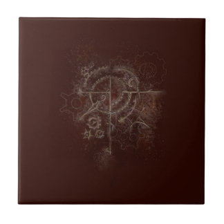 Ghostly SteamPunk Motif Ceramic Tile