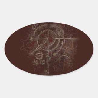 Ghostly SteamPunk Motif Oval Sticker