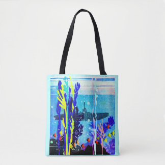 ghostly submarine in tropical waters tote bag