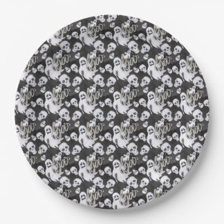 Ghosts Halloween Pattern 9 Inch Paper Plate