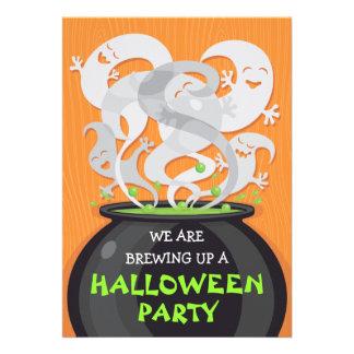 Ghosts Witches Cauldron Halloween Invitation 5x7
