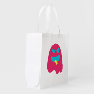 ghosty pixel reusable grocery bag