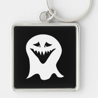 Ghoul Ghost. Black and White. Silver-Colored Square Key Ring