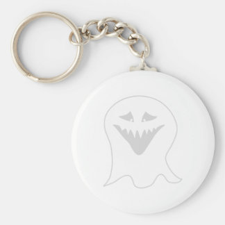Ghoul Ghost. Gray and White. Basic Round Button Key Ring