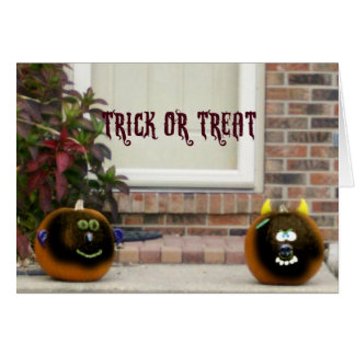 Ghouled Faced Pumpkins Greeting Card