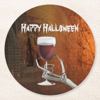 Ghoulish Halloween Cocktail Party Paper Coasters Round Paper Coaster
