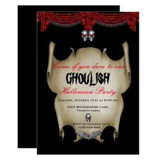 Ghoulish Silver Skulls Halloween Card