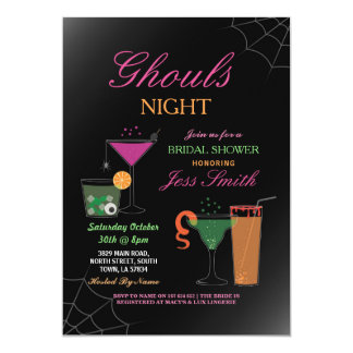 Ghouls Night Halloween Bridal Shower Cocktails Card
