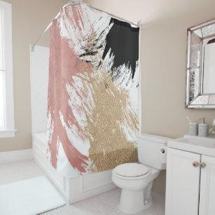 Giant Artsy Brushstrokes In Gold Rose Glitter Shower Curtain