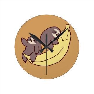 Giant Banana Sloths Round Clock